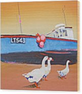 Fishing Boat Walberswick With Geese Wood Print