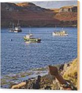 Fishing Boats At Anchor In A Quiet Bay On The Isle Of Skye In Sc Wood Print