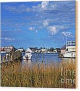 Fishing Boats At Dock Ocracoke Island Wood Print by Thomas R Fletcher