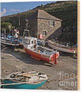 Fishing Boats At Mullion Cove Wood Print
