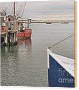 Fishing Boats At Pier Wood Print