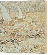 Fishing Boats At Saintes Maries De La Mer Wood Print by Vincent van Gogh