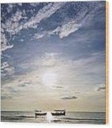 fishing boats at sunset in koh rong Cambodia Wood Print