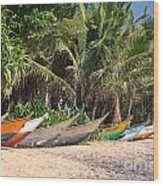 Fishing Boats B Mirissa Beach Wood Print