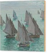 Fishing Boats Calm Sea Wood Print