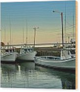 Fishing Boats In A Harbor Towards Evening On Prince Edward Island Wood Print