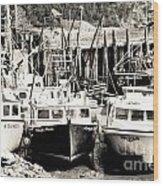 Fishing Boats In Alma Wood Print