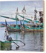 Fishing Boats In Bali Wood Print