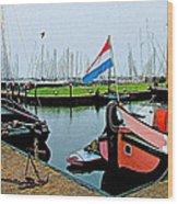 Fishing Boats In Enkhuizen-netherlands Wood Print
