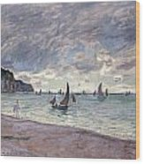 Fishing Boats In Front Of The Beach And Cliffs Of Pourville Wood Print