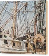 Fishing Boats In Harbour Wood Print