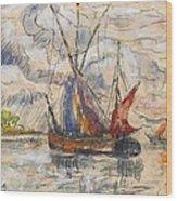 Fishing Boats In La Rochelle Wood Print by Paul Signac