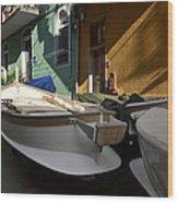 Fishing Boats In Manarola - Cinque Terre Wood Print
