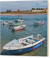 Fishing Boats Wood Print by Luis Alvarenga