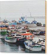 Fishing Boats Moored At A Harbor, Ponta Wood Print