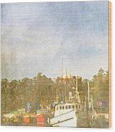 Fishing Boats Newport Oregon Wood Print by Carol Leigh