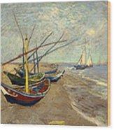 Fishing Boats On The Beach At Les Sainte-maries-de-la-mer Wood Print