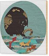 Fishing Cat Black Wood Print