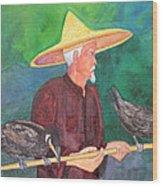 Fishing Cormorants Wood Print