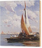 Fishing Craft With The Rivere Degli Schiavoni Venice Wood Print
