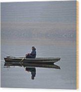 Fishing Day Fog Wood Print