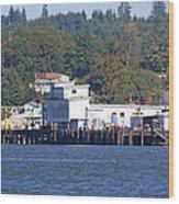 Fishing Docks On Puget Sound Wood Print