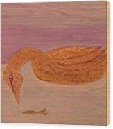 Fishing Duck Wood Print