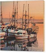 Fishing Fleet Sunset Boat Reflection At Fishermans Wharf Morro Bay California Wood Print