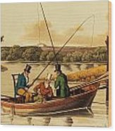 Fishing In A Punt Wood Print