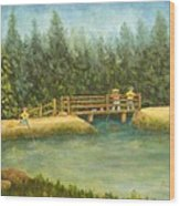 Fishing In New England Wood Print