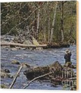 Fishing In Pacific Northwest Wood Print