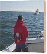 Fishing In Rough Seas Wood Print