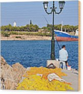 Fishing In Spetses Town Wood Print