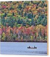 Fishing In The Fall Colors On Lake Chocorua Wood Print