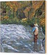 Fishing In The Fall Wood Print
