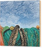 Fishing Nets And Alto-cumulus Clouds Wood Print