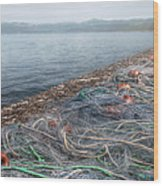 Fishing Nets To Dry Wood Print