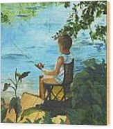 Fishing Off The Dock Wood Print