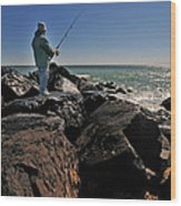 Fishing Off The Jetty Wood Print