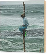 Fishing On A Pole Wood Print