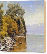Fishing On Lac Leman Wood Print