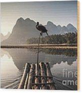 Fishing On Li River Wood Print