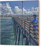 Fishing On Oceanside Pier Wood Print