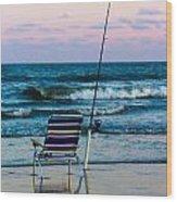 Fishing On The Beach Wood Print