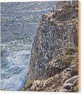Fishing On The Cliffs Wood Print