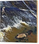 Fishing On The South Fork River Wood Print