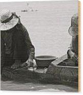 Fishing On Tonle Sap Wood Print