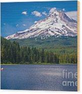 Fishing On Trillium Lake Wood Print