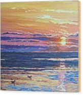 Fishing Paradise Sunset Wood Print by Andrei Attila Mezei