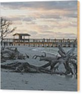 Fishing Pier And Driftwood Wood Print